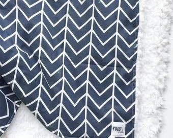 Navy Chevron Baby Blanket, Chevron Blanket