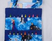 Frozen , Elsa, Anna, Crayon bag, coloring bag, activity bag.  Complete with Crayola crayons and a Doc McStuffin coloring book