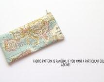 World map pencil case fabric pattern random, world map case, map pencil pouch, pencil case, pencil pouch, map gift - Mapamundi