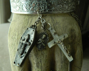 SALE 15% coupon code MARCH15 Vintage cuff Crucifix and Medals  Assemblage by 58diamond