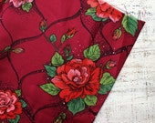 RESERVED Vintage fabric 10 yards in 1 listing wine red burgundy coral pink lilac floral boho