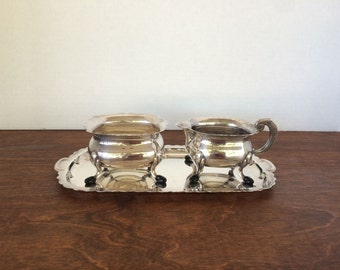 Vintage Silver Plated Sugar and Cream with Tray Three Piece Set