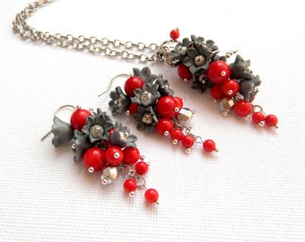 Red Jewelry Flower Jewelry Coral Jewelry Lily Of The Valley Red Grey Handmade Pendant Earrings Polymer Jewelry Flowers Gift For Her
