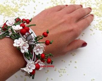Flower Bracelet, Boho Jewelry, Flower Jewelry, Handmade Bracelet, Wrap Bracelet, Boho Bracelet, Gift For Her, Cherry, White Red