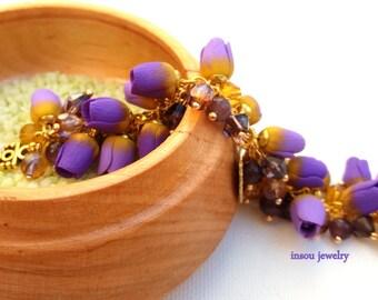 Flower Bracelet, Wedding Bracelet, Charm Bracelet, Tulip Jewelry, Lilac Jewelry, Flowers, Gift For Her, Wedding Jewelry, Anniversary Gift