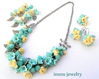 Mint, Pastel Jewelry ,Flower Jewelry, Mint Jewelry, Handmade Jewelry, Gift For Her, Necklace Into Bracelet, 2 Pairs Of Earrings, Brooch