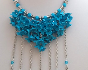 Turquoise Necklace Flower Necklace Statement Necklace Flower Jewelry Turquoise Jewelry Bib Necklace Gift For Her Handmade Necklace-Earrings