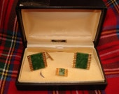 Jade Cufflink and Tie Pin Set, Boxed