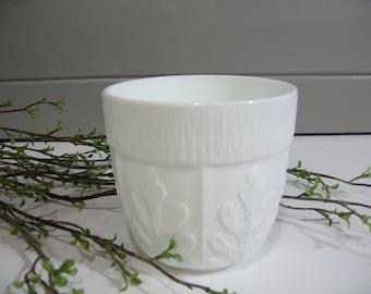 Milk Glass Planter, Vase, Oak Design, Organic Decor, Herb Planter