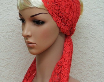 Lace hair scarf, hair band, headband, head scarf, hair wrap, lace hair wrap, long hair scarf, red head wrap, hair covering