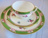 Minton Trio Cup, Saucer and Luncheon Plate Pattern B499 Green Boarder with Blue and Pink Roses