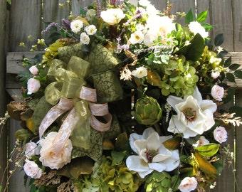 Magnolia Wreath, French Country Wreath, Summer Wreath, Old World Wreath, Ivysage Designs Wreath, Door Wreath