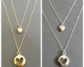 18K Vermeil Puffy Cut out Heart charm Necklace, Mother daughter necklace, Mother and child necklace, gift for mother and daughter