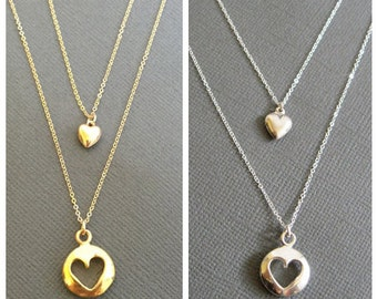 18K Vermeil Puffy Cut out Heart charm Necklace, Mother daughter necklace, Mother and child, gift for mother and daughter, Mother's day Gift