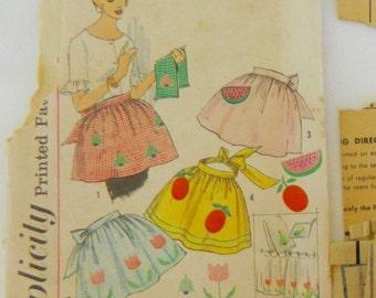50's Apron One-Yard Hostess Apron Applique Transfers vintage SIMPLICITY 4180 vintage sewing pattern