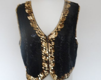 black and gold sequin waistcoat