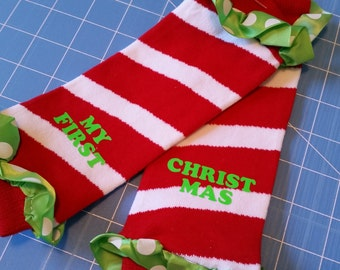 My first Christmas leg warmers, custom vinyl infant leg warmers