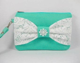 SUPER SALE - Mint with White Lace Bow Clutch - Bridal Clutches, Bridesmaid Wristlet, Wedding Gift - Made To Order
