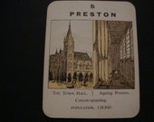 """SALE - Preston Vintage """"Counties of England"""" Card - Circa 1920s/1930s - Lancashire -Town Hall -Trading Card - .65 Cent Shipping / 1.35 Int'l"""