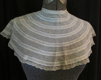 "Antique Victorian Edwardian Lace Collar Insertion Lace 10"" Deep Bobbin Lace Collar Shawl"