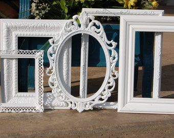 Shabby Chic PICTURE FRAMES - Set Of  Gallery Upcyled Frames - Picture Frame Set