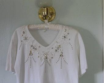 Lace, Rhinstone, and Stud Embellished T-shirt