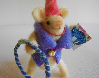 Needlefelted mouse felted animal fiber art soft sculpture party hula hoop invitation