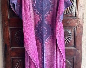 Pink and charcol chiffon embroidered kaftan