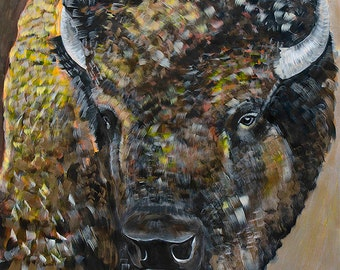 9x12 Fine art giclee print of original buffalo bison painting by Natalie Jo Wright