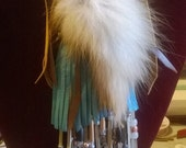 APRIL SALE Red Fox Fur and Fringed Leather Neck Bag Medicine Bag Pouch Mountain Man Rendezvous Pow Wow Regalia