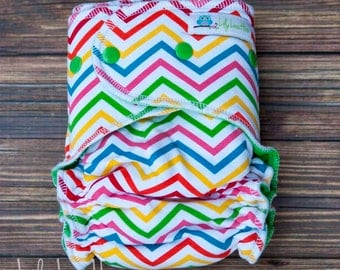 "Cozy Serged Hybrid Fitted Cloth Diaper- ""Fruit Stripe Chevron"""