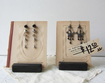 Pair Earring Displays - Repurposed Antique Photo Album Pages & Wood Bases -  Ready to Ship