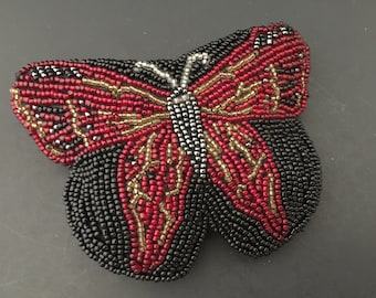 Vintage Neiman Marcus - Butterfly Coin Purse - Beaded Change Bag