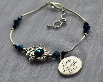 Biolojewelry - Hamsa Serotonin Molecule Happiness Beautiful Crystal Bracelet