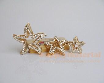 3PCS/Set Golden Starfish Flatback Alloy jewelry Accessories materials supplies