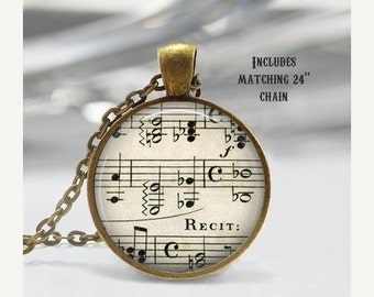 Vintage Sheet Music Necklace, Treble Clef, Bass Pendant, chain included X275