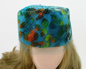 Sal Ballin Blue Floral Pillbox Hat, Turquoise Flocked Chiffon Hat with Netting and Blue Glass Stone