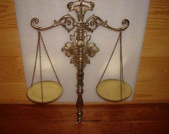 """Rare Unique Brass / Cast Scales Of Justice / Balancing Scale 20"""" Tall Usable Wall Scale (Sale Price)"""