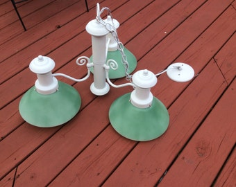 Upcycled hanging chandelier white with sea glass