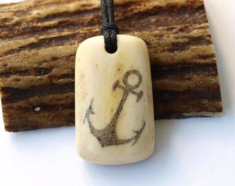 Anchor necklace, Anchor pendant, Anchor jewelry, Antler pendant, Antler necklace, Scrimshaw jewelry, Scrimshaw pendant, Engraved anchor