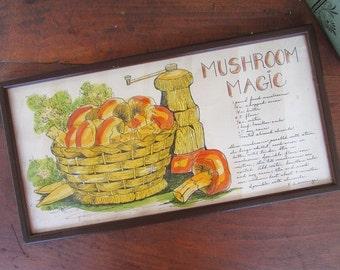 Framed Mushroom Recipe Vintage Soovia Janis Retro Kitchen Decor Kitsch