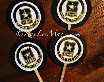 24 Army cupcake toppers/Army Theme Party/military party/soldier for life/ military cupcake toppers/army tags/army retirement party