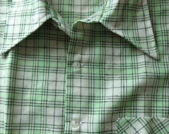Vintage Shirt, Long Sleeve Shirt, Green Plaid Shirt, K Mart Shirt, Flare Collar,70s Retro Shirt Polyester Blend, Cotton Blend, Large  Medium