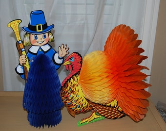 Vintage Thankgiving, pilgrim, turkey, fold out, paper, honeycomb, BEISTLE CO, set of 2