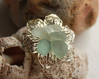 pastel sea glass colors, aqua sea foam sea glass flower stainless steel adjustable ring beach statement jewelry