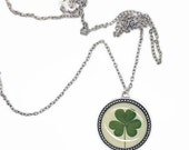 SALE Clover necklace handmade Clover jewelry- st patricks nature inspired silver plated necklace with pressed natural clover