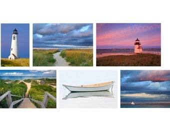 Art Gift Set, Set of 6 Six Photos, Nantucket Photography Art Collection Gallery Wall Prints Cape Cod Pictures Lighthouse Artwork Beach Decor