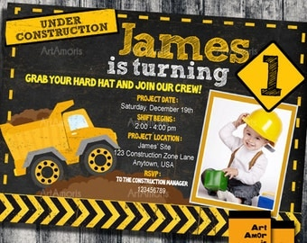 Construction Birthday Invitation, Construction Invitation, Construction Party, Construction Birthday, Boys Construction, Dump Truck R-18