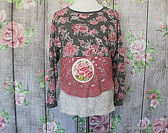 Floral Print Sweatshirt Women's Chenille Upcycled Shabby Clothes Junior Clothing Size Medium Large Altered Couture Unique Fashion