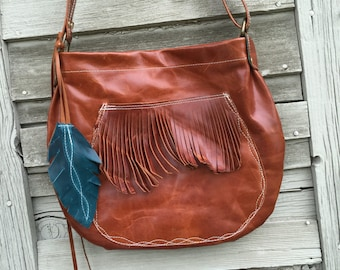 SHIPS TODAY Distressed Brown Leather Hobo w/ Adj. Strap, Pockets and Fringe